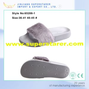 EVA Female Outdoor Open Toe Woman Slipper with Fur Upper pictures & photos