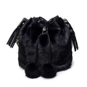 Faux Fur and PU Leather Bucket Bag and POM POM Handbags pictures & photos