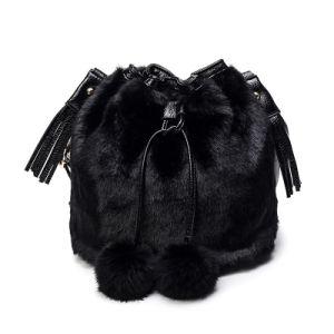 Faux Fur and PU Leather Bucket Bag and POM POM Handbags