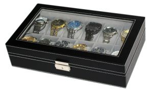 Watch Display Box Organizer, PU Leather with Large Glass Top (LW-JB0329) pictures & photos