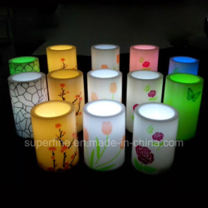 "Beautiful Wedding Decorated Bird Printed 4"" Pillar Flameless LED Candles pictures & photos"