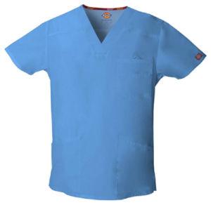 Custom Men′s V-Neck Scrubs Blue Hospital Uniform (A604)