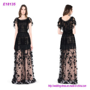 Embroidered Lace Short Sleeve Maxi Evening Dress (Accept OEM) pictures & photos