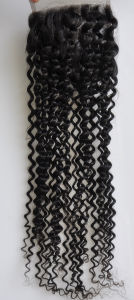 Middle/Free/3-Part Bleached Knots Brazilian Virgin Hair Lace Top Closure Swiss Lace Unprocessed Kinky Curly Hair Lbh 273 pictures & photos