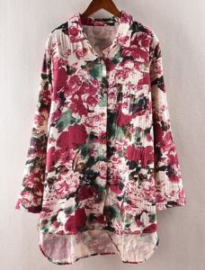 Printed Women`S Flax Shirt