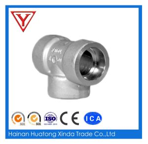 High Pressure Black Steel Socket Welding Pipe Fitting Tee pictures & photos