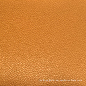 Yellow Big Grain PVC Leather pictures & photos