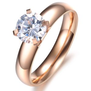 Zircon Diamond Crystal Rose Gold Fashion Woman Designer Rings Stainless Steel Jewelry pictures & photos
