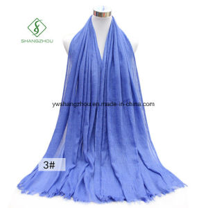 Large Size Monochrome TR Cotton Lady Fashion Scarf pictures & photos