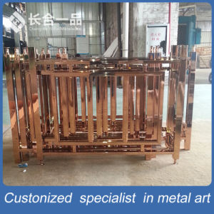 Customized Golden and Carve Pattern Stainless Steel Indoor Stairs Handrail pictures & photos