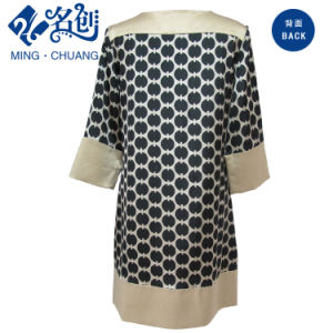 Black Pattern Long Sleeve Round Sleeve Loose Leisure Dress pictures & photos