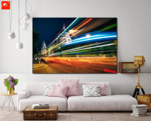 Shinning City Downtown Night Cotton Canvas Oil Painting pictures & photos