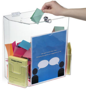 Factory Made Acrylic Suggestion Boxes with Lock pictures & photos