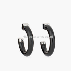 Fashion Big C Shape Earrings Elegant Black Resin Hoop Earrings for Women Jewelry Gifts pictures & photos