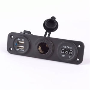 Car Marince Dual Two USB Port Socket with Voltmeter Charger pictures & photos