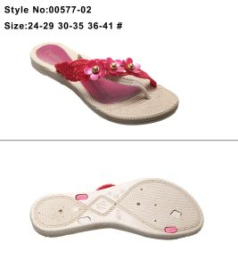 Metal Decoration EVA Women and Ladies Decorative Straw Clip Toe Flip Flop Slipper pictures & photos