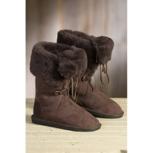 Winter Fashion Lace-up Sheepskin Wool Women′s Boots pictures & photos