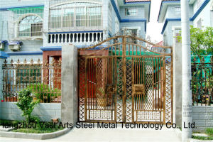 Haohan High-Quality Exterior Security Decorative Wrought Iron Fence Gate 19 pictures & photos
