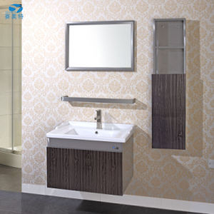 High Quality Wooden Grain Stainless Steel Hotel Bathroom Cabinet Vanity pictures & photos