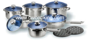 14pcsstainless Steel Cookware Set with Blue Glass Lid pictures & photos