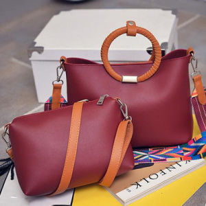 Women Bags 2 in 1 Set Tote Bag with Color Collision Strap Hansbags Sy7904 pictures & photos