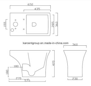 Two Piece Ceramic Toilet Ce Washdown Water Closet Wc T16008 pictures & photos