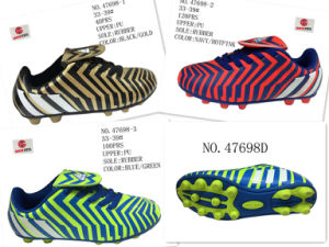 No. 47698 Three Colors PU Soccer Shoes pictures & photos