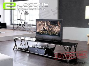 LCD Glass TV Stand with Stainless Steel-T342 pictures & photos