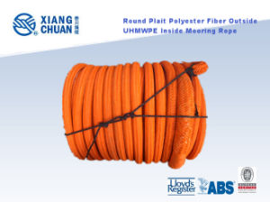 Round Plait Polyester Fiber Outside UHMWPE Fiber Inside Mooring Rope pictures & photos