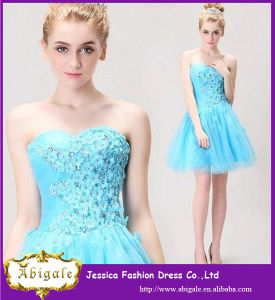 2014 New Arrival Turquoise Applique Short Women Party Dresses