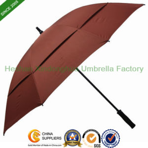 Quality Fiberglass Windproof Double Canopy Golf Umbrella for Advertising (GOL-0027FD) pictures & photos