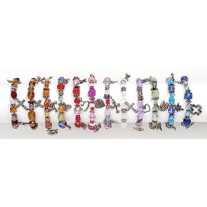 Bracelet Assortment, Acrylic Beads with Silver Charms, Stretchable pictures & photos