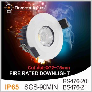 SGS 90mins BS476-21 IP65 COB LED Fire Rated Dimmable Downlight 8W