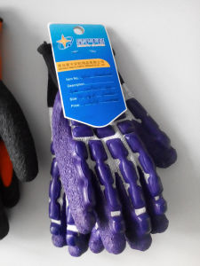 T/C Shell Crinkle Latex Coated Safety Work Gloves (L9100) pictures & photos
