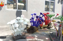 Modern Large Outdoor Garden Hotel Interior Hall Decorative Hand Made Chihuly Style Handmade Glass Mushroom Sculpture