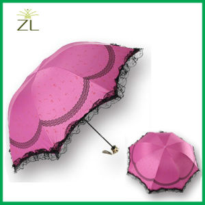 Promotional Popular Fancymanual Open Lady Lace Parasol Umbrella pictures & photos