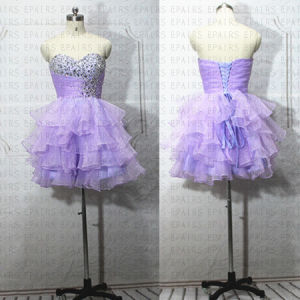 Strapless Short Lilac Organza Mini Gown Sexy Short Prom Dress 2014