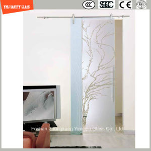 3-19mm Silkscreen Print/Acid Etch/Frosted/Pattern Flat/Bent Tempered/Toughened Glass for Door/Window/Shower Door in Hotel and Home pictures & photos