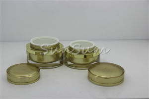 Acrylic Gold Crystal Series Cream Cosmetic Jars pictures & photos