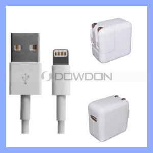 for iPad Air/4/Mini iPhone 5 5s Wall Charger Set Power Adapter with 8pin USB Data Sync Charger Cable pictures & photos