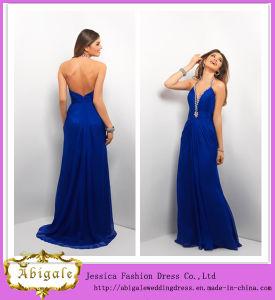 Hot Chiffon Halter Backless Sleeveless Low Cut Beaded Royal Blue Mermaid Prom Dresses Yj0076