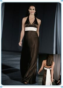 Coffee Halter Neck High End Quality Evening Dress Hot Sale pictures & photos