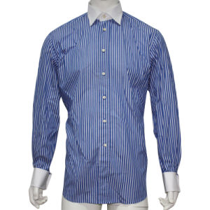 Men′s Dress Shirt with White Collar and Double Cuff HD0045