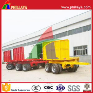 4 Axles Truck Full Flatbed Drawbar Trailer on Sale pictures & photos