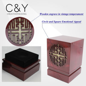 Dark Red Glossy Painted Engraved Wooden Gift Box for Candle pictures & photos