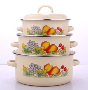 Enamel Casserole 3PCS Set 16/18/20cm 111d/dB pictures & photos