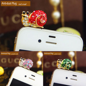 Item Snail Cellphone/Mobile Phone Anti-Dust Plug Item No. 374 Material Alloy + Rhinestone Attribution 3.5mm Plug Color Green, Purple and Red