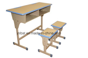 School Furniture School Sets Students Kids Double School Desk and Attached Chairs pictures & photos