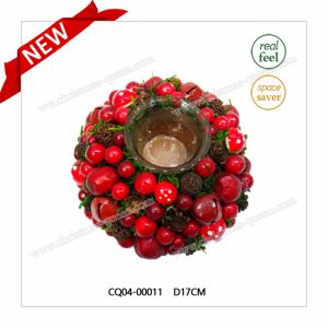 New Design Christmas Pine and Cherry Candle Holder Wreath Jewelry pictures & photos