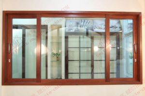 Three Track Woodgrain Aluminium Sliding Window (BHA-SW26) pictures & photos